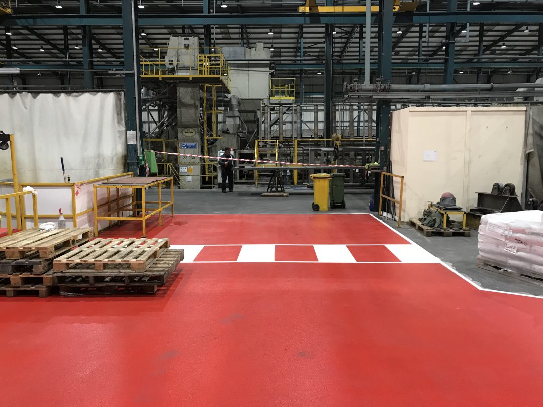 Curtiss-Wright Line Marking and Anti Slip Resin Factory Flooring